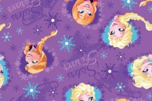 "Frozen Sisters Forever Hearts  Purple 44"" wide"