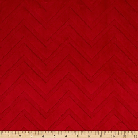 Chevron Cuddle  RED (Minky) 1.6m piece