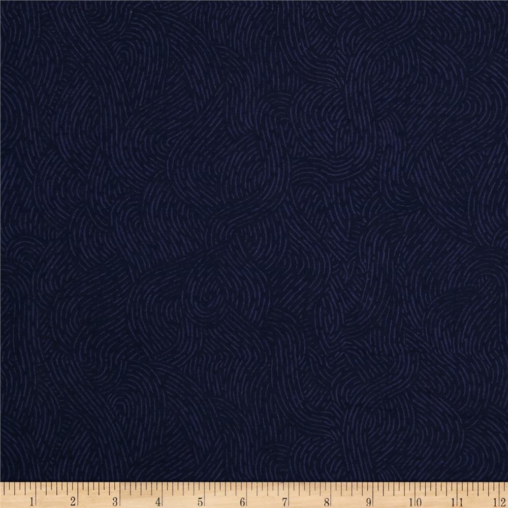 **Flat Fold Flannel Seacoast Navy 1m