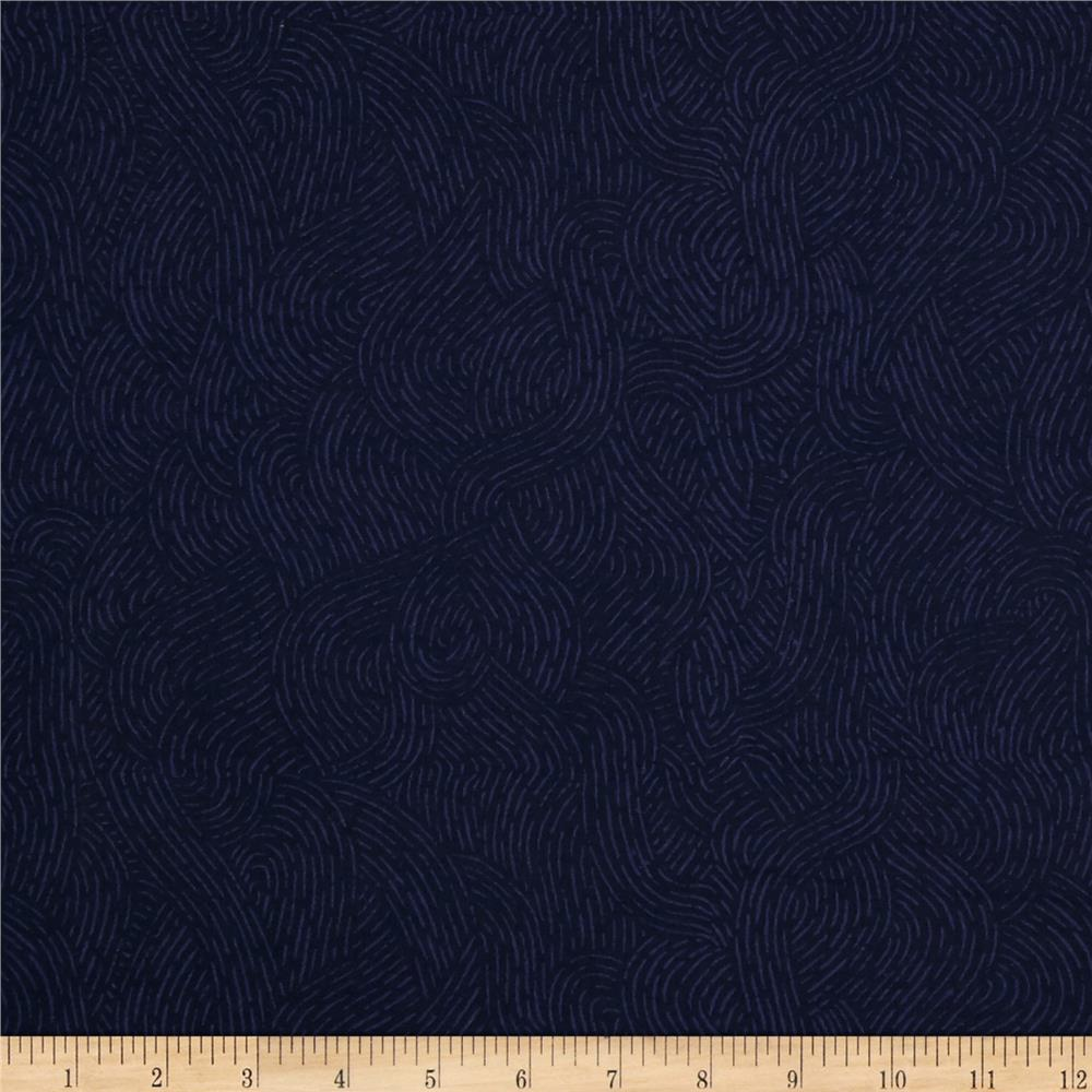 **Flat Fold Flannel Seacoast Navy 1.4m