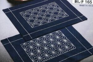 Sashiko Kit Placemat Asa-no-ha design.