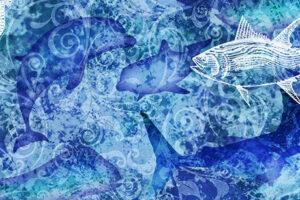 Ocean Oasis Water & Fish Batik Blue 25832 B