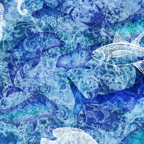 Ocean Oasis Water & Fish Batik Blue 25832 B