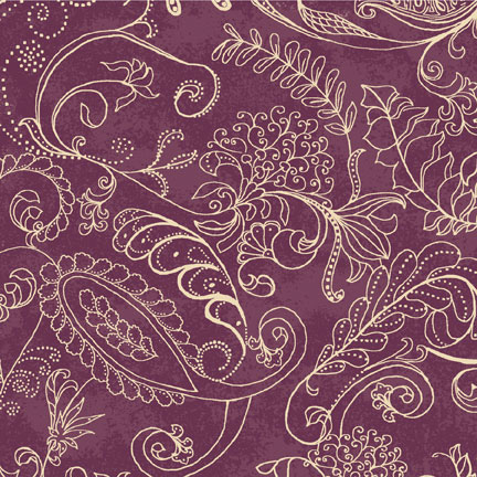 Bolt End Dotty Paisley PLUM  85cm piece