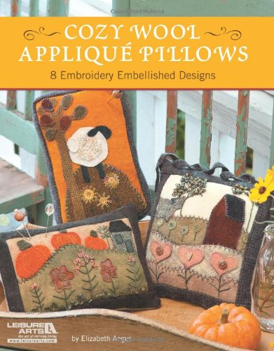 Book Cozy Wool Applique Pillows