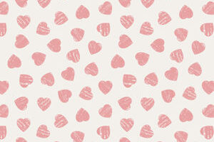 Pink Hearts on Light Cream 6004 81