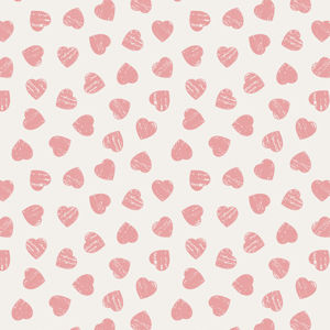 Pink Hearts on Light Cream 6004 81