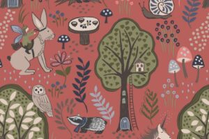 Enchanted Forest on Dusky Red 6005 52